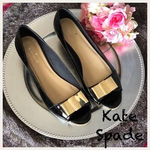 Kate Spade Theresa patent peep-toe bow wedge